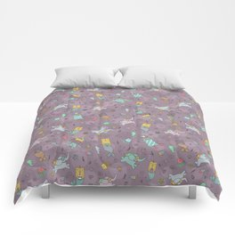 Cat mermaids under the sea. Funny elephant and unicorn kitty. Comforters