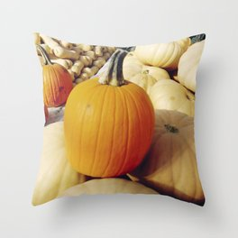 Freshly picked assortment of fall pumpkins and squash Throw Pillow