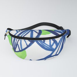 Blue and lime green abstract apple tree Fanny Pack