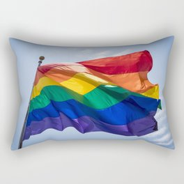 LGBTQIA Flag Flying over Pride March Rectangular Pillow