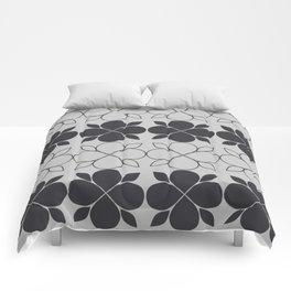 Black and Grey Flower Tile Comforters