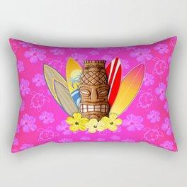 Surfboards And Tiki Mask Pink Flowers Rectangular Pillow