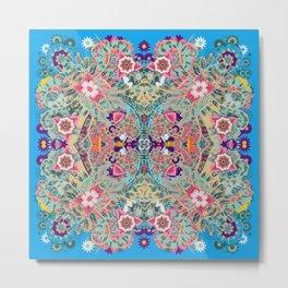 Turquoise Floral Mandala  Metal Print