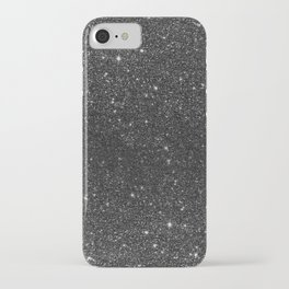 Modern chic elegant trendy faux black glitter iPhone Case