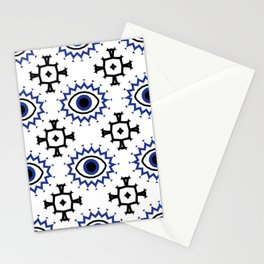 Turkish Eye Moroccan Tiles Pattern Blue Stationery Cards