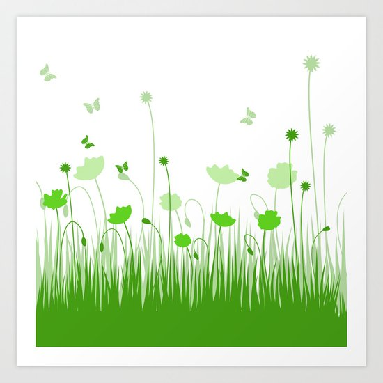 Green poppies  Art Print