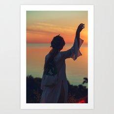 Girl in Sunset Art Print