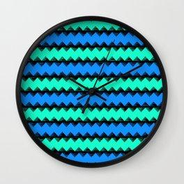 Aqua and Blue Sawtooth Pattern Wall Clock