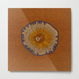 Growing - ginkgo - embroidery based on plant cell under the microscope Metal Print