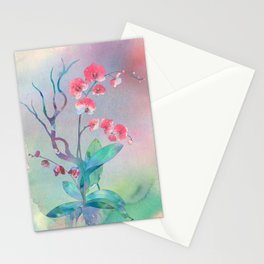Watercolor orchids painting art illustration Stationery Cards
