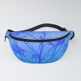 Montbretia silhouette on blue distressed background Fanny Pack