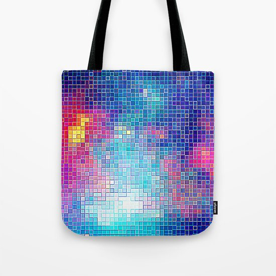Colorful Abstract Pixels Tote Bag