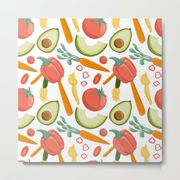 Vegetables seamless pattern in cartoon style. Bright tomatoes, avocado, carrot, bell peppers, eggplants. Metal Print