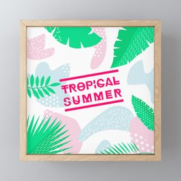 Tropical Summer Vibes and Leaves Framed Mini Art Print