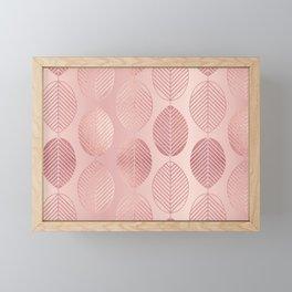 Rose Gold Leaf Pattern Framed Mini Art Print