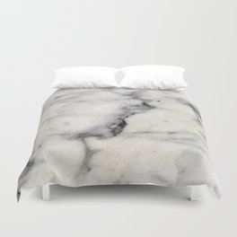 Smoky-White Marble with Black Veins Texture Duvet Cover
