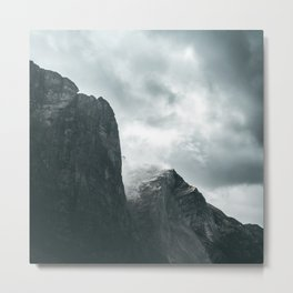 Norway Photography - Mountains Under Gray Clouds Metal Print