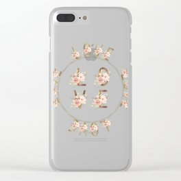Modern Watercolour Floral Gold LOVE typography Clear iPhone Case