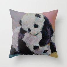 Baby Panda Rumble Throw Pillow