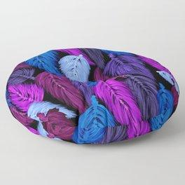 Watercolor Macrame Feather Toss in Black + Indigo Floor Pillow