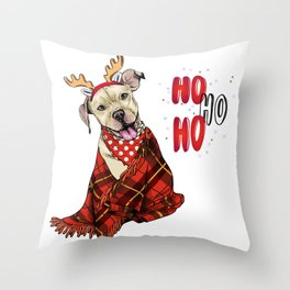 Hand Drawn Pit Bull Terrier Dog Portrait with Antlers and Snuggled in Plaid Blanket Throw Pillow