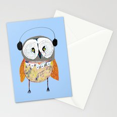 Owl with Headphones. Stationery Cards