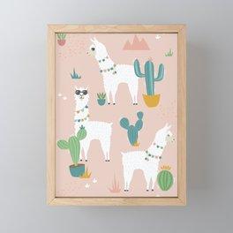 Summer Llamas on Pink Framed Mini Art Print