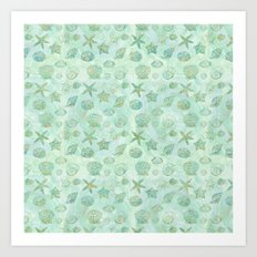 Gold Aqua Mint Watercolor Sea Shells Art Print
