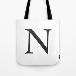 Letter N Initial Monogram Black and White Tote Bag