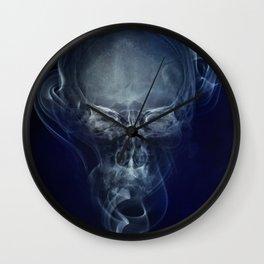 Smoke and skull - blue version Wall Clock