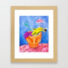 Tiki Drink no.2 with banana dolphin Framed Art Print