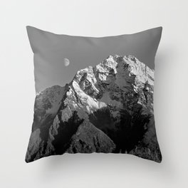 Moon Over Pioneer Peak B&W Throw Pillow