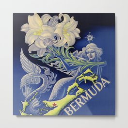 Vintage Mermaid Bermuda Metal Print