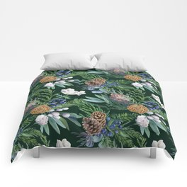 Dark green winter bouquet Comforters