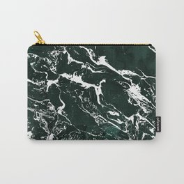 Dark green forest watercolor white marble christmas pattern Carry-All Pouch