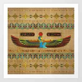 Egyptian Goddess Isis Ornament on papyrus Art Print
