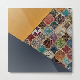 N11 - Vintage Traditional Moroccan Artwork Mixed with Modern Colored Touch. Metal Print