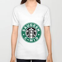 starbucks V-neck T-shirts featuring Starbucks C MID by Rainer Hilland