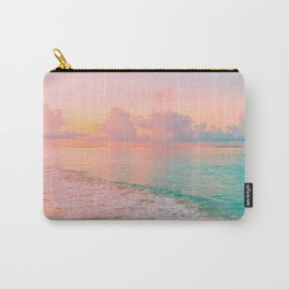 Beautiful: Aqua, Turquoise, Pink, Sunset Relaxing, Peaceful, Coastal Seashore Carry-All Pouch