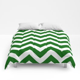 Emerald green - green color - Zigzag Chevron Pattern Comforters