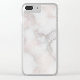 Elegant blush tones pink rose gold white marble Clear iPhone Case