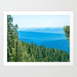 Artistic Brush // Grainy Scenic View of Rolling Hills Mountains Forest Landscape Photography Art Print