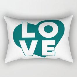 LOVE & heart // dark teal Rectangular Pillow