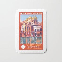 1928 VISIT INDIA Muttra Train Travel Poster Bath Mat