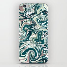 Marbling Green Rose Abstract Art Digital Painting Gift iPhone Skin