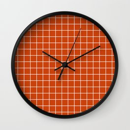 Sinopia - red color - White Lines Grid Pattern Wall Clock