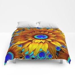 SURREAL GOLDEN SUNFLOWERS PEACOCK BLUE EYES Comforters