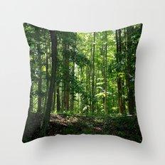 Pine tree woods Throw Pillow