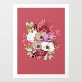 Anemones & Gardenia pink bouquet Art Print