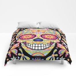 Sugar Skull Art (Mariposa) Comforters